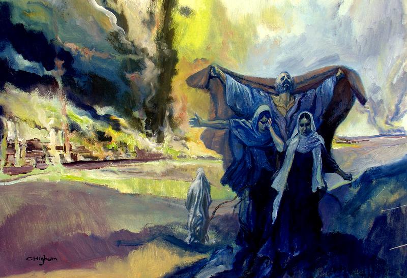 Лот с дочерьми бежит из Содома